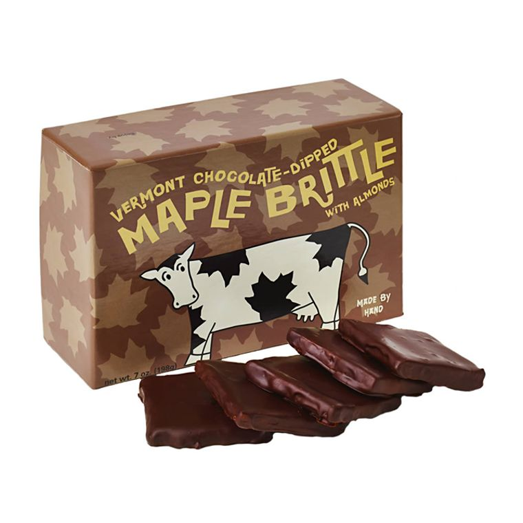 Chocolate-Dipped Vermont Maple Brittle With Almonds (7oz box)