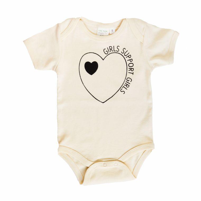 Girls Support Girls Infant Onesie (in Natural White)