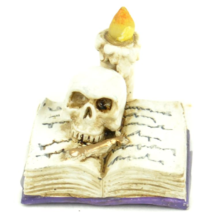 "1"" Open Book w/Candle & Skull"