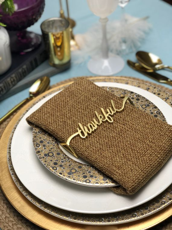 Thankful Napkin Wrap, Matte gold Single