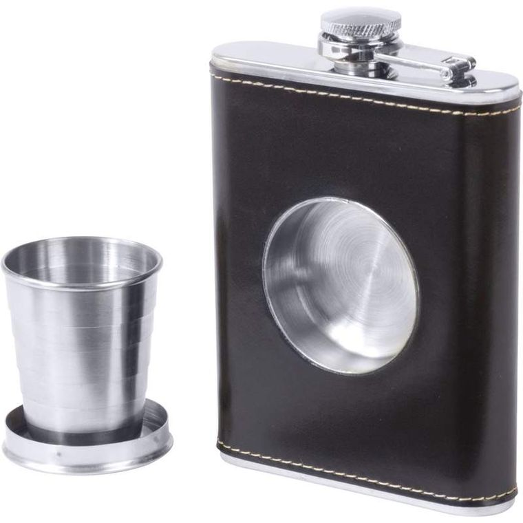 Maxam 6.8oz Stainless Steel Flask with Built-In Cup