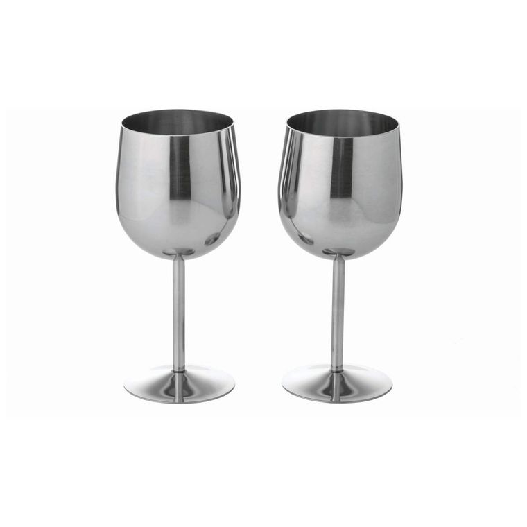 T304 Stainless Steel 2pc Wine Goblet Set