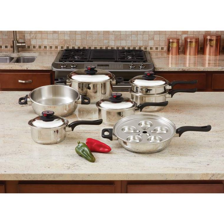 World's Finest 7-Ply Steam Control 17pc T304 Stainless Steel Cookware Set