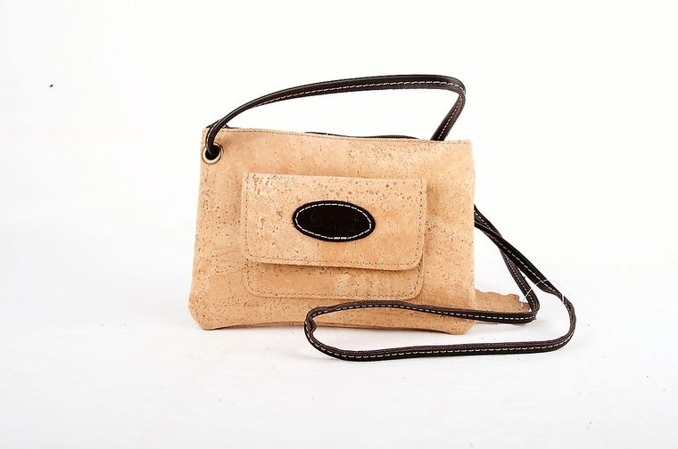 Natural Cork and Leather Crossbody Bag
