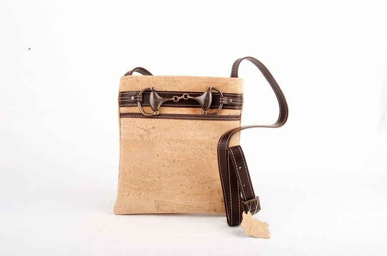 Natural Cork and Leather Crossbody Buckle Bag
