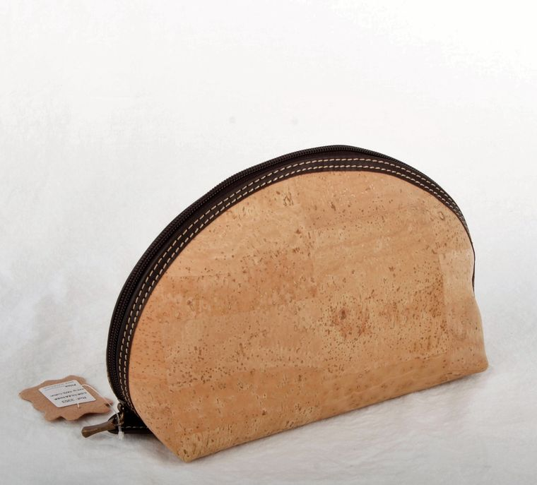 Natural Cork and Leather Cosmetic Bag-Lg