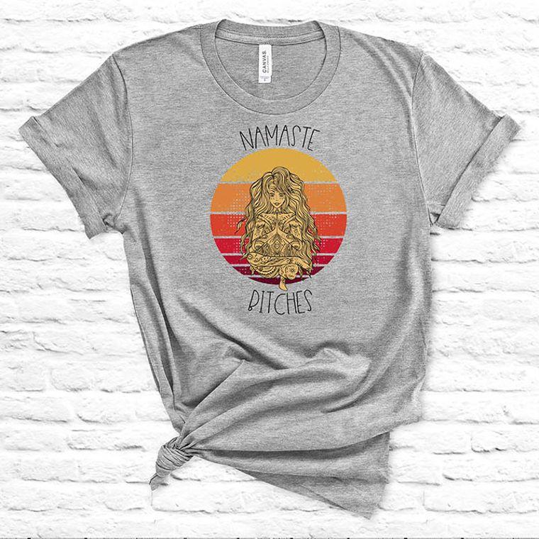 Nameste Bitches Funny Yoga Adult Theme T-shirt