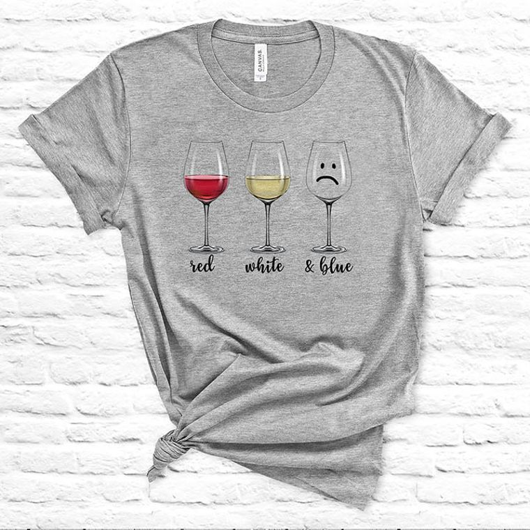 Red, White and Blue Funny Wine T-shirt