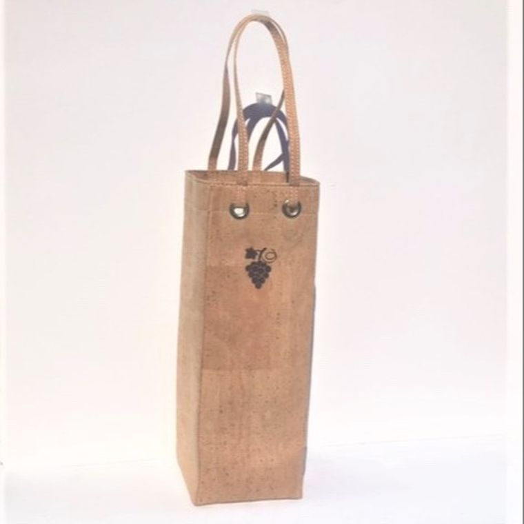 Natural Cork Wine Carrier with grape design