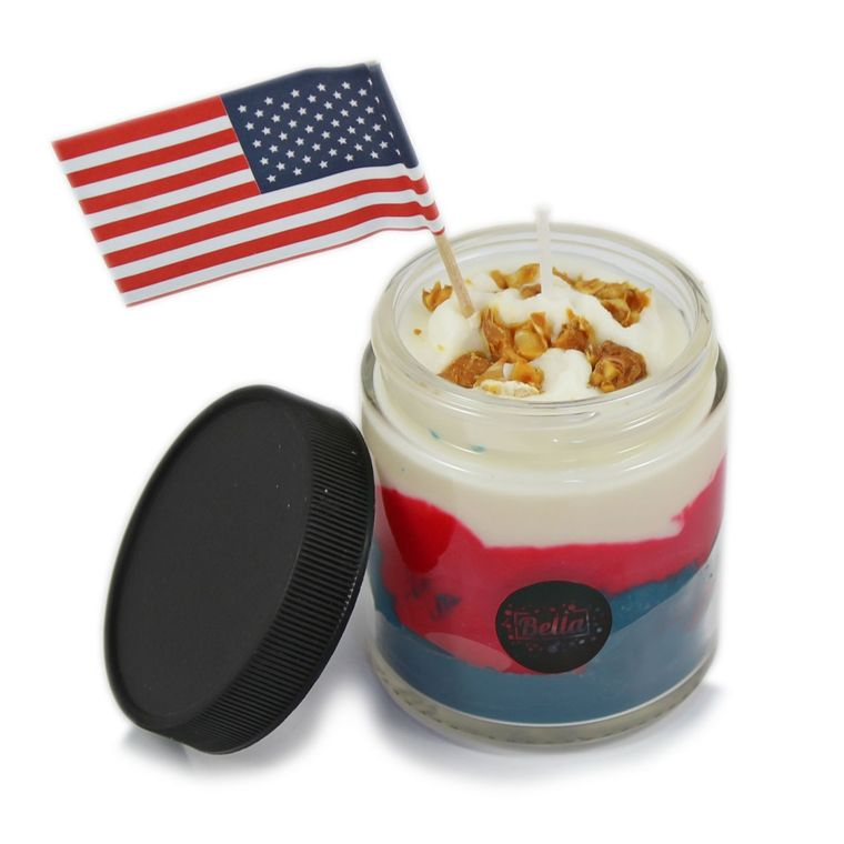 Made In America + Flag Dessert Jar Candle With Lid - Strawberry Lemon Ice Scent