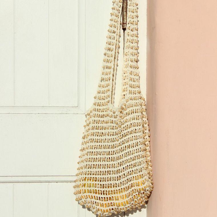 Karma Wooden Beads Bag, Crochet Bag - Natural White