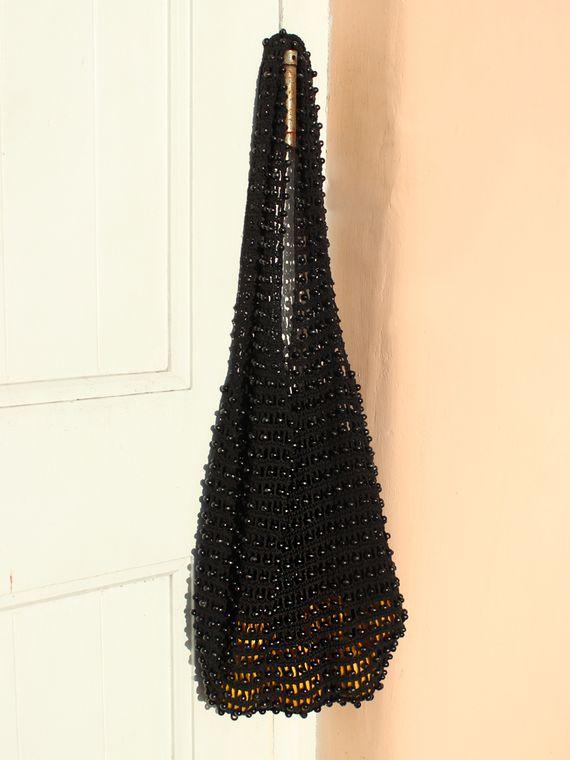 Karma Wooden Beads Bag, Crochet Bag - Black