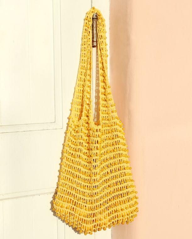 Karma Wooden Beads Bag, Crochet Bag - Pale Yellow