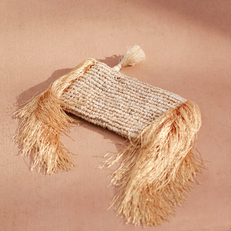 Canggu Gold Fringe Raffia Straw Clutch - Small