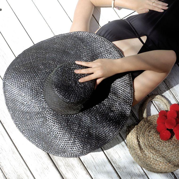 Balinese Swasti Wide Round Straw Hat