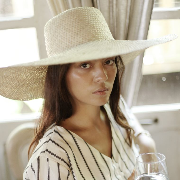 Swasti Wide Round Palm Straw Hat, in Beige
