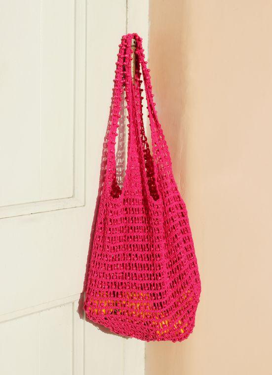 Karma Wooden Beads Bag, Crochet bag -  Pink