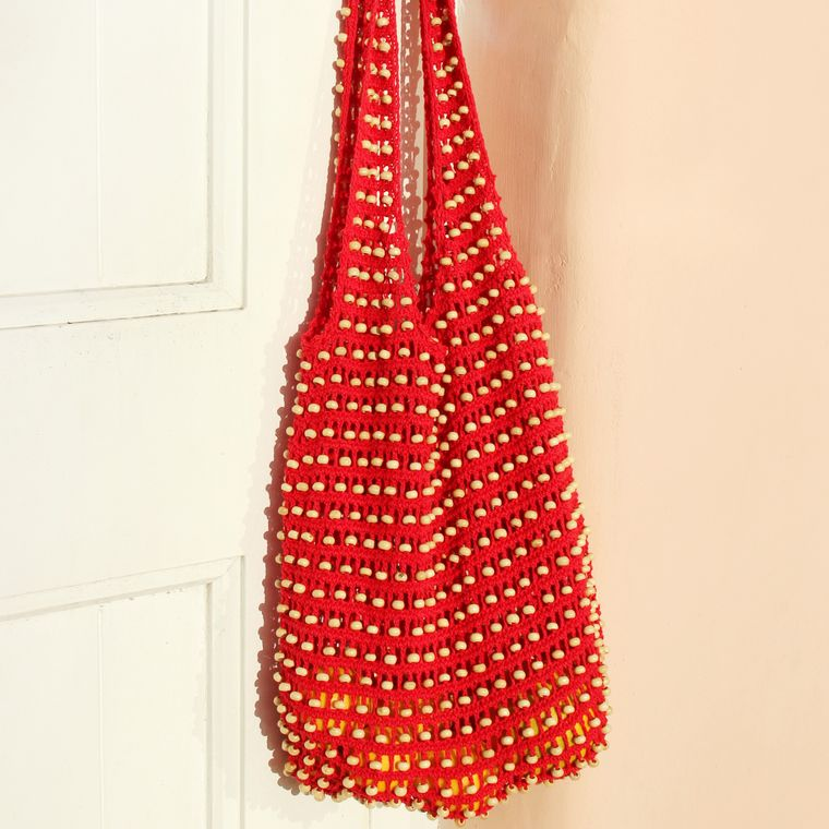 Karma Wooden Beads Bag, Crochet Bag - Red
