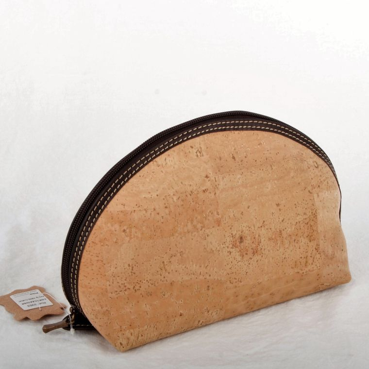 Natural Cork and Leather Cosmetic Bag-Med
