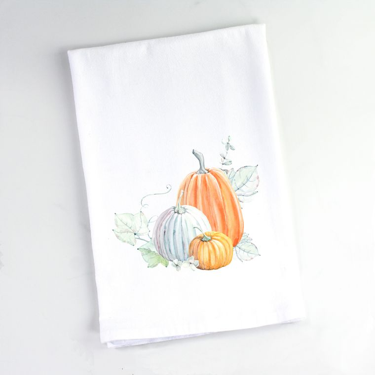Autumn Watercolor 3 Pumpkins Flour Sack Towel
