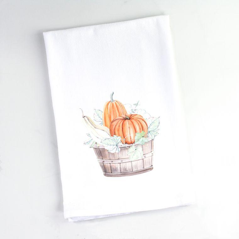 Autumn Watercolor Pumpkins Barrel Flour Sack Towel
