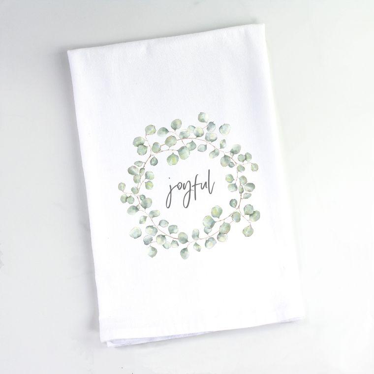 Silver Dollar Eucalyptus Wreath Flour Sack Towel Joyful