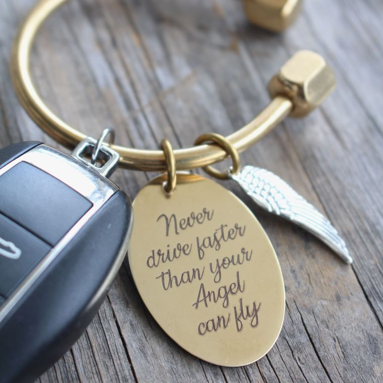 Sweet Sixteen Birthday Gift - Personalized Guardian Angel Gift Key Ring - Wing Charm - Never Driver