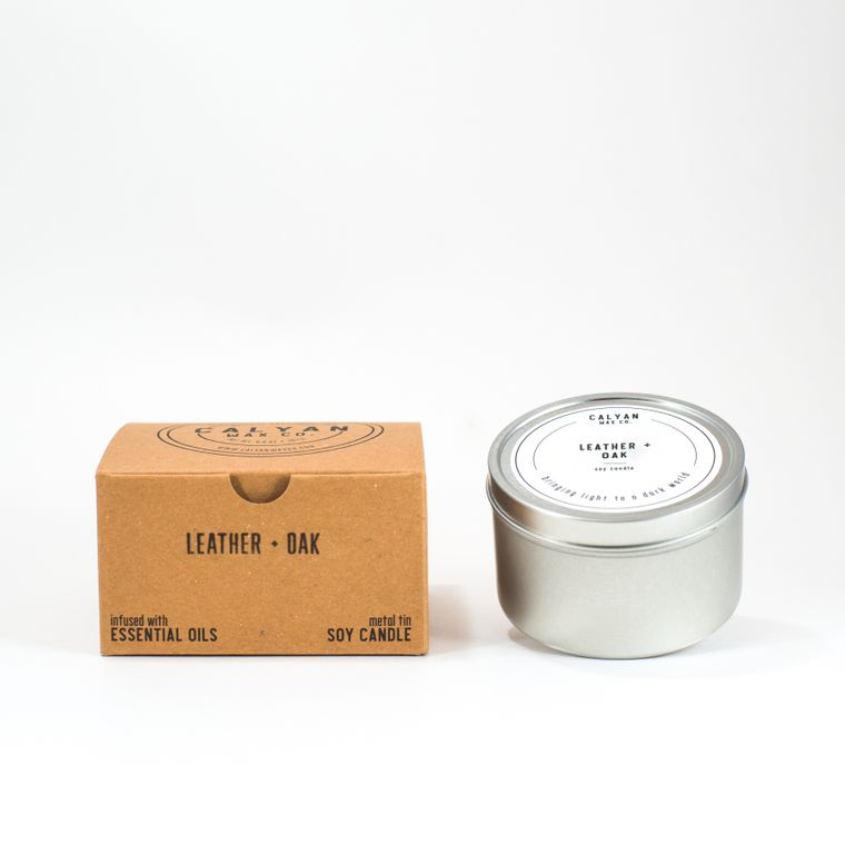 Metal Tin Soy Candle - Leather/Oak