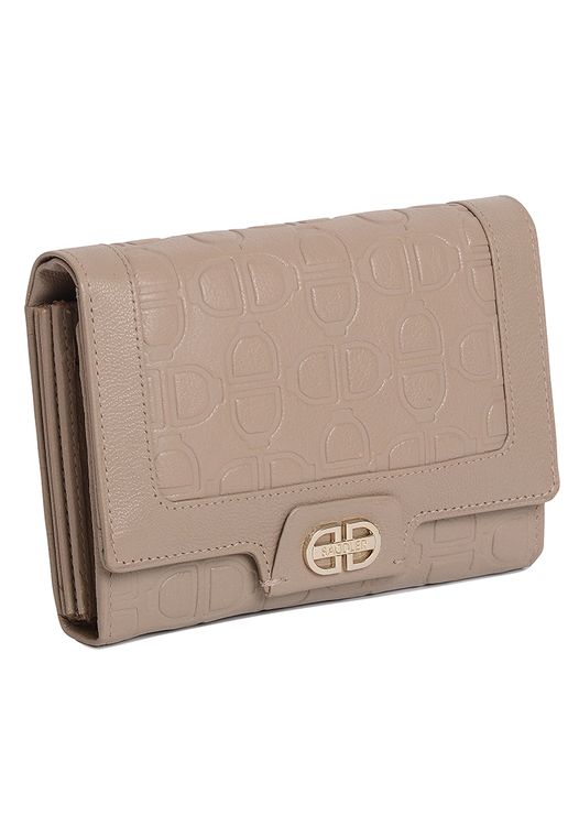 SADDLER Womens Leather Multisection Flapover Purse Wallet With Zipper Coin Purse