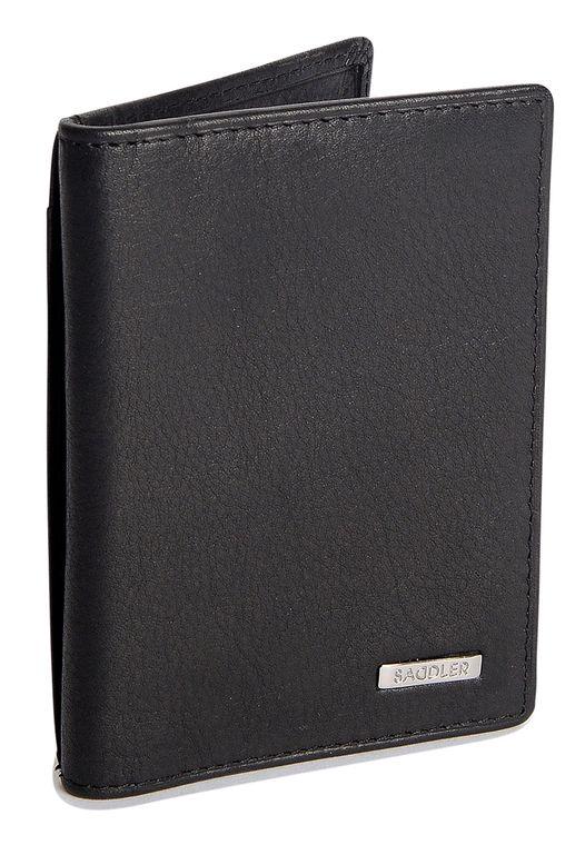 SADDLER Mens Nappa Real Leather Vertical Credit Card and ID Holder - Black