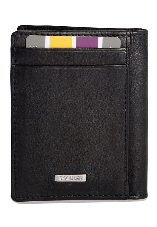 SADDLER Mens Nappa Leather Front Pocket Wallet - Magnetic Money Clip - Black