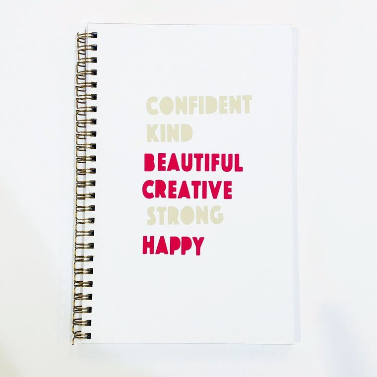 Motivational notebook, confident kind beautiful creative strong happy.