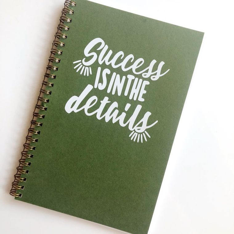 Success is in the details, olive green trendy notebook.