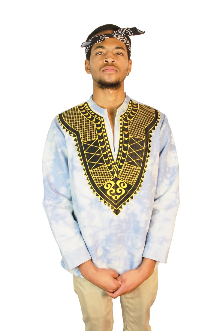 Acid Sky Denim Dashiki