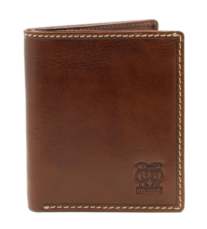 """CAPPIANO Mens Billfold Wallet - North South - Vegetable Tanned Leather - 2 Full Length Note Section - 6 Credit Card Slots - Side Entry Slip-in Rear Pocket - Embossed CAPPIANO """"Cherub"""" Logo"""