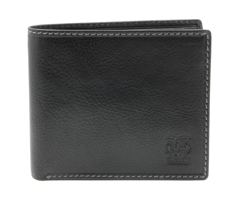 "CAPPIANO Mens Billfold Wallet - Vegetable Tanned Leather - Traditional - 2 Full Length Note Sections - 8 Credit Card Slots - Side Entry Slip-in Rear Pocket - Embossed CAPPIANO ""Cherub"" Logo"