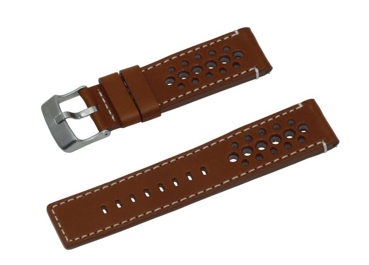 SWISS REIMAGINED Vintage Italian Leather Watch Band - Rally Style - Brushed Stainless Steel Buckle
