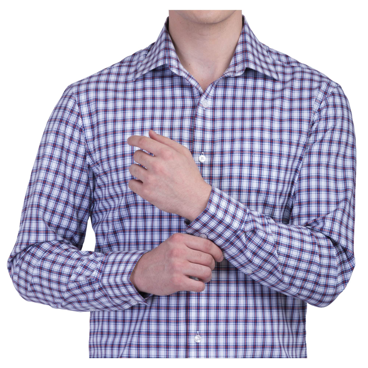 PURPLE CHECKS WRINKLE FREE COTTON SHIRT
