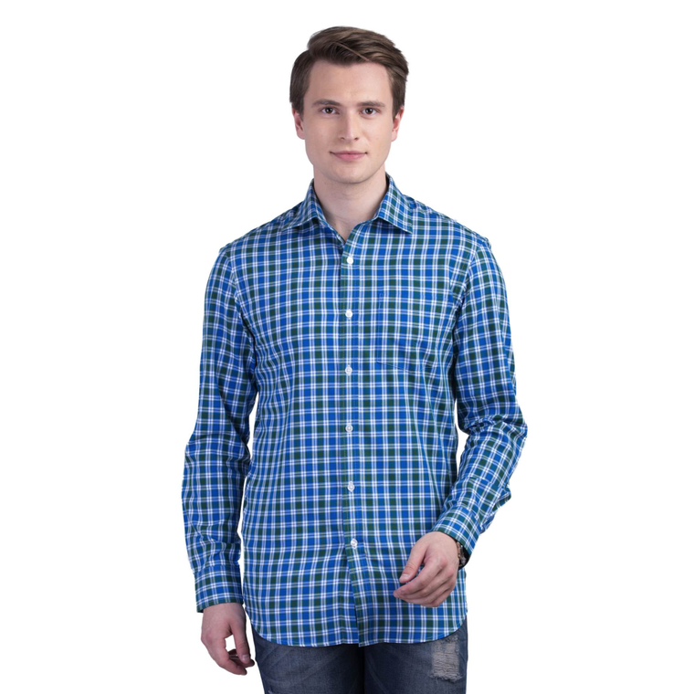 GREEN BLUE CHECKS WRINKLE FREE COTTON SHIRT