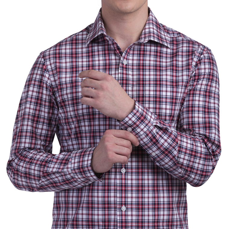 LARGE MAROON CHECKS WRINKLE FREE COTTON SHIRT