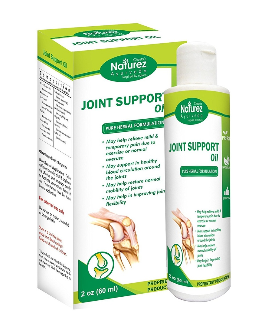 Naturez Ayurveda Joint Support Rubbing oil --Powerful Pain Relief oil for Arthritis. Proven Joint Back Knee Neck Shoulder Pain Reliever. Effective for Carpal Tunnel, Tennis Elbow, Tendonitis, Muscle Chronic Pain. Patented Natural Ingredients (2 Oz)