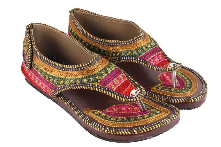 Chesta's Rajasthani Girls Women Multicolor Hand Work Embroidery Sandals