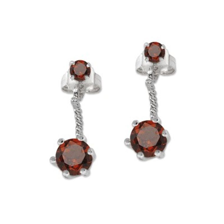 Sterling Silver Classic Round Garnet Cioro Illusion Twisted Rope Earrings