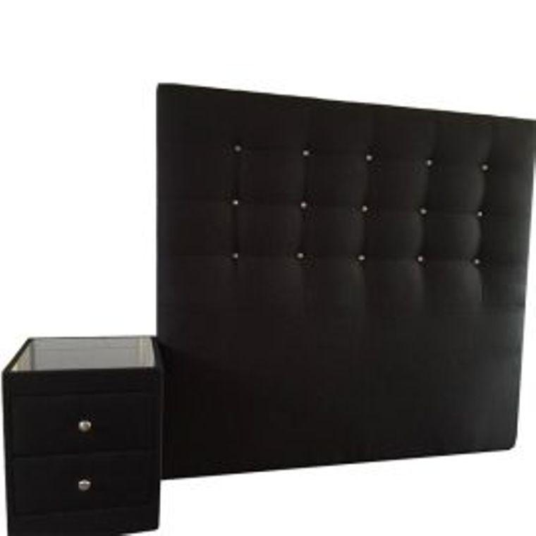 Black 2 drawer bedside chest