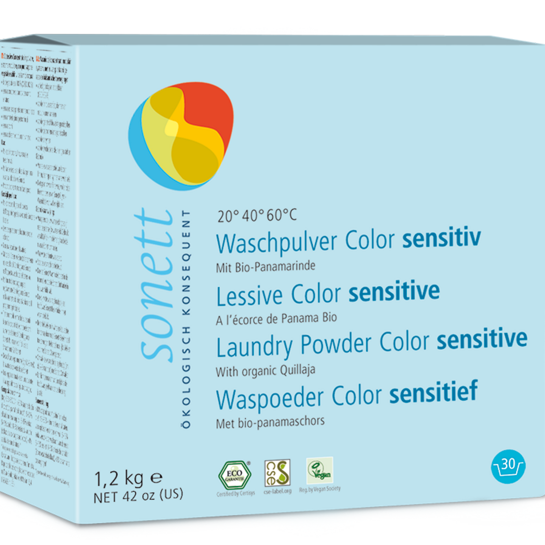 Sonett Eco Neutral Powdered Laundry Detergent for Colors 42 oz / 1.2 kg
