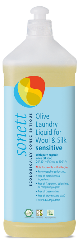 Sonett Eco Sensitive Olive Laundry Liquid for Wool and Silk 34 fl oz/ 1 Litre