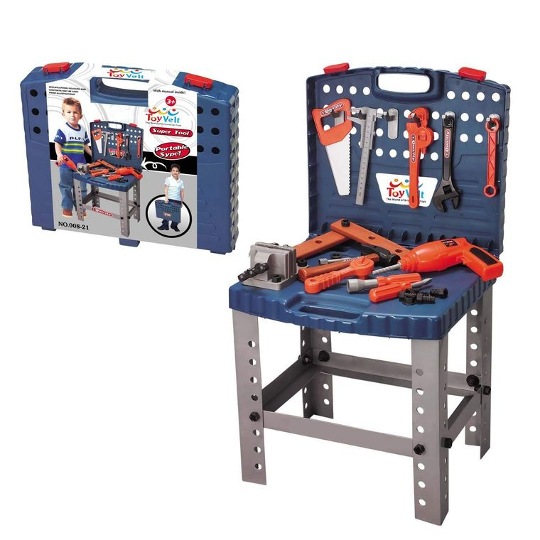 68 Piece Workbench W Realistic Tools & ELECTRIC DRILL for Construction Workshop Tool Bench for Boys & girls age 3, 4, 5, 6 yrs - 12 years old