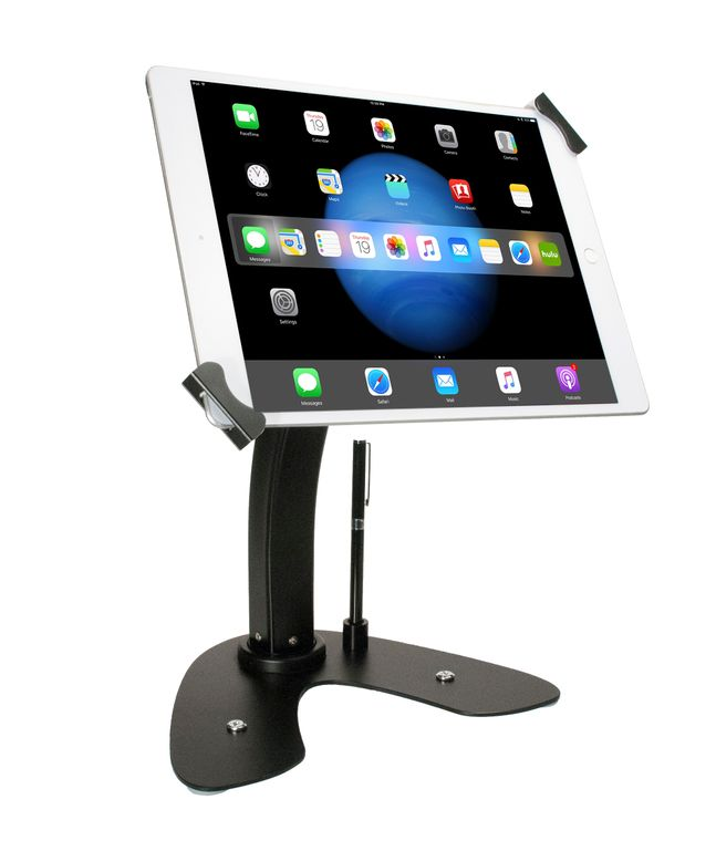 Universal Dual Security Kiosk with Locking Holder and Anti-Theft Cable for iPad, Surface, & 7-13 Inch Tablets (Black)