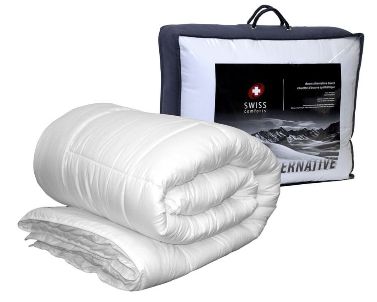 Swiss Comforts Soft Luxurious Contemporary Style Bedding Goose Down Alternative Microfiber Shell Bedroom Duvet, Twin Size, White