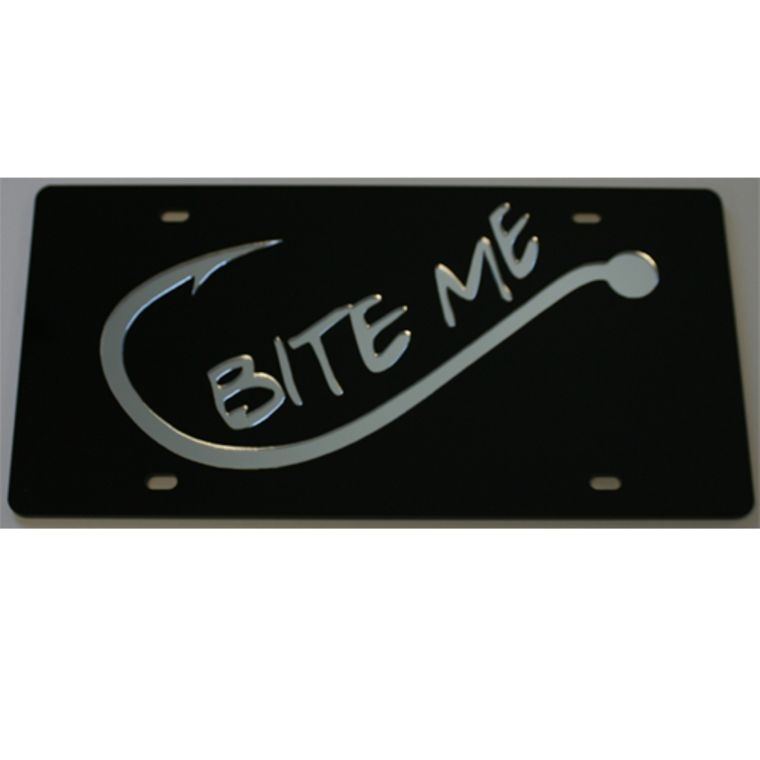 License Plate Bite Me  Acrylic Mirrored License Car Tag